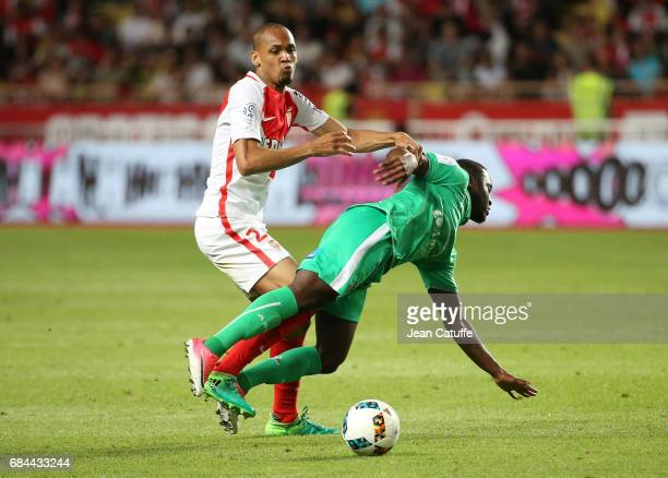 Fabio Henrique Tavares aka Fabinho of Monaco and Henri Saivet of SaintEtienne in action during the French Ligue 1 match between AS Monaco and AS...