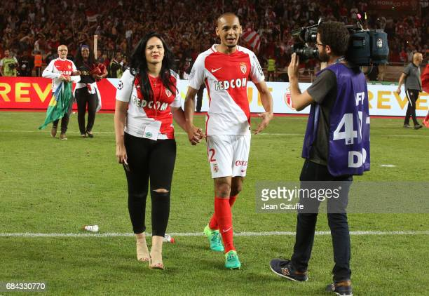 Fabio Henrique Tavares aka Fabinho of Monaco and his wife Rebeca Tavares during the French League 1 Championship title celebration following the...