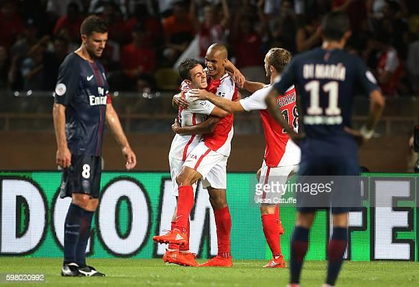 Fabio Henrique Tavares aka Fabinho of Monaco celebrates scoring the second goal between Bernardo Silva and Valere Germain during the French Ligue 1...