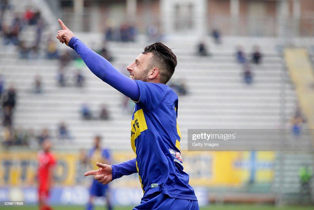 Fabio Lauria of Parma celebrates during the Serie A match between Parma Calcio 1913 and Bellaria Igea Marina at Stadio Ennio Tardini on May 1, 2016 in Parma, Italy.