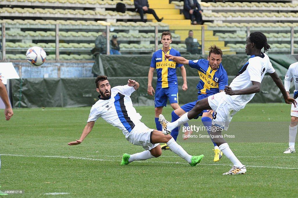 Fabio Lauria scores his second goal during the Coppa Italia Serie D match between Parma Calcio 1913 and Ribelle 1927 at Stadio Ennio Tardini on...