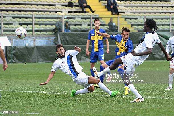 Fabio Lauria scores his second goal during the Coppa Italia Serie D match between Parma Calcio 1913 and Ribelle 1927 at Stadio Ennio Tardini on...