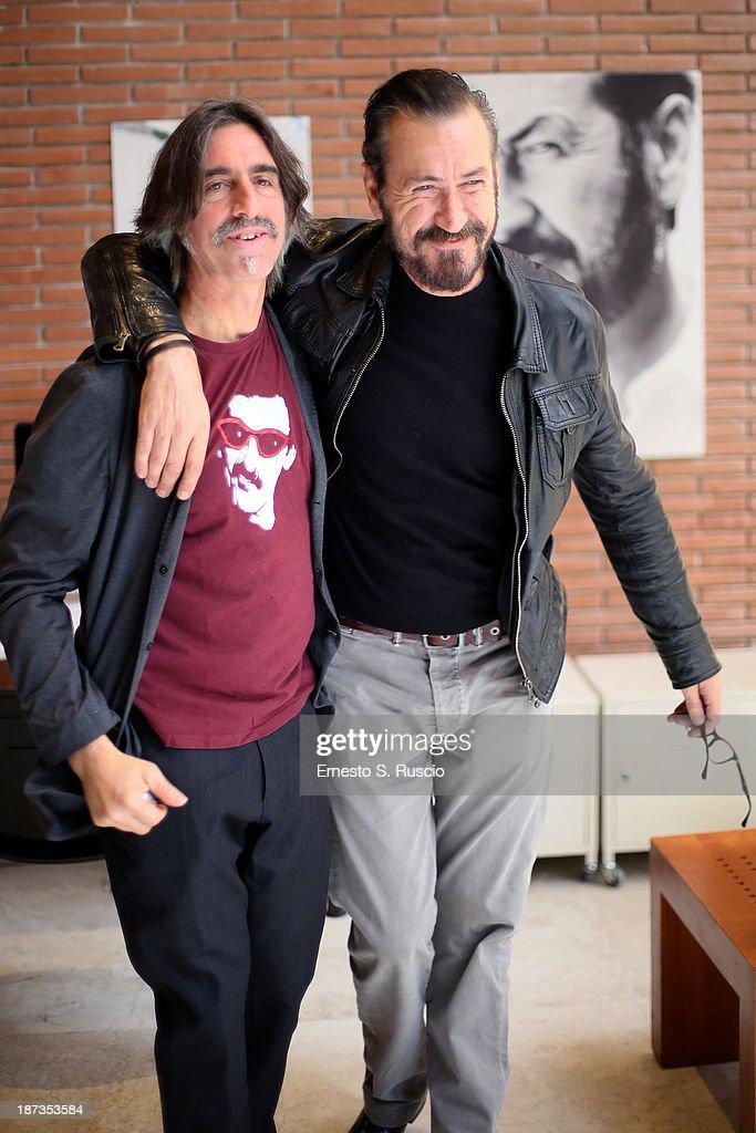 Fabio Lovino (L) and Marco Giallini attend the Fabio Lovino Exhibition Opening during the 8th Rome Film Festival at the Auditorium Parco Della Musica on November 8, 2013 in Rome, Italy.