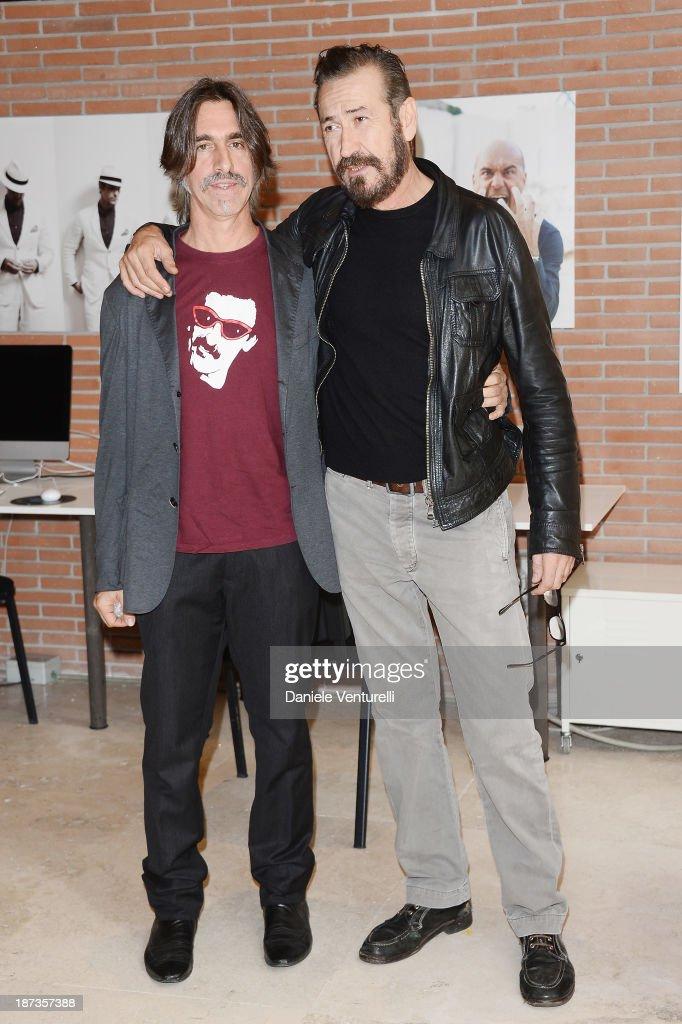 Fabio Lovino and Marco Giallini attend the Rome Film Festival Opening Press Conference during the 8th Rome Film Festival at the Auditorium Parco Della Musica on November 8, 2013 in Rome, Italy.