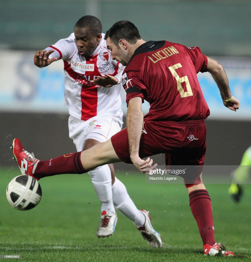 Fabio Lucioni (R) of Reggina competes for the ball with Leo Adailton of Sion during the friendly match between Reggina Calcio and FC Sion on January 18, 2013 in Reggio Calabria, Italy.