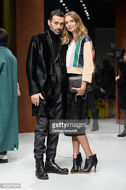 Fabio Novembre and Candela Novembre attend the Roberto Cavalli show as a part of Milan Fashion Week Menswear Autumn/Winter 2014 on January 14 2014 in...