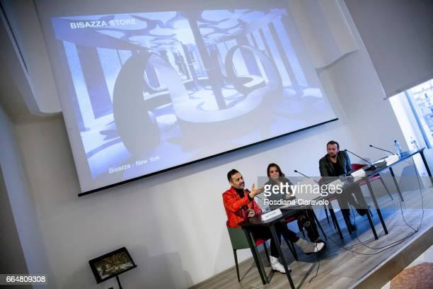 Fabio Novembre Francesca Lavazza and Mauro Porcini during the presentation of 'Fabio Novembre DesignArchitecture' at Mondadori Store on April 4 2017...