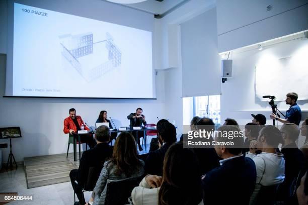 Fabio Novembre Francesca Lavazza Mauro Porcini and Stefano Boeri during the presentation of 'Fabio Novembre DesignArchitecture' at Mondadori Store on...