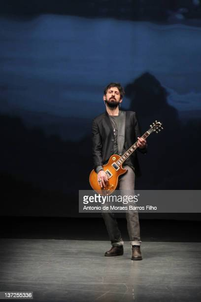 Fabio Novembre plays during the Diesel Black Gold fashion show as part of Milan Fashion Week Menswear Autumn/Winter 2012 on January 17 2012 in Milan...