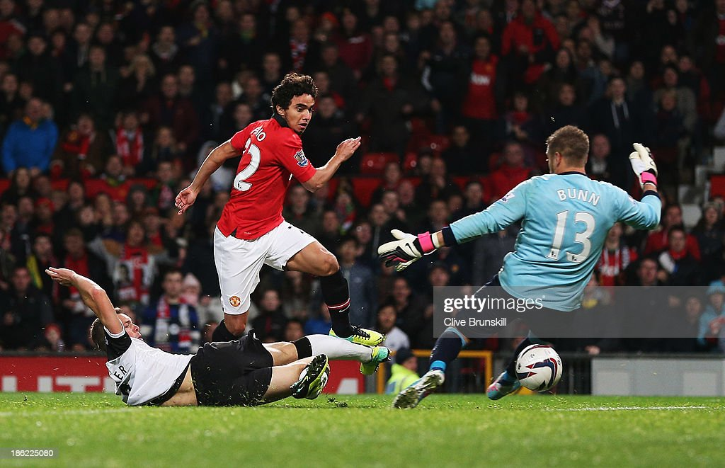 Fabio of Manchester United scores his team's fourth goal during the Capital One Cup fourth round match between Manchester United and Norwich City at Old Trafford on October 29, 2013 in Manchester, England.
