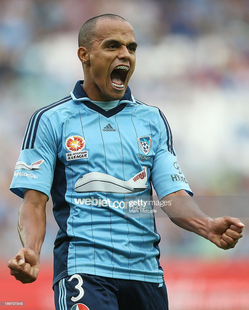 Fabio of Sydney reacts to an attempt at goal during the round 17 A-League match between Sydney FC and the Wellington Phoenix at Allianz Stadium on January 19, 2013 in Sydney, Australia.