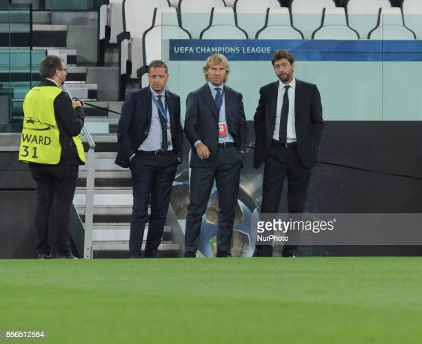 Fabio Paratici of Juventus Sports Director Pavel Nedved of Juventus Vice President and Andrea Agnelli of Juventus President during the warmup before...