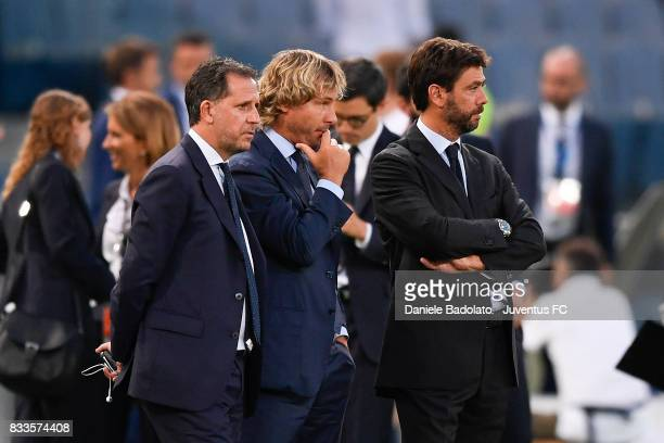 Fabio Paratici Pavel Nedved and Andrea Agnelli during the Italian Supercup match between Juventus and SS Lazio at Stadio Olimpico on August 13 2017...