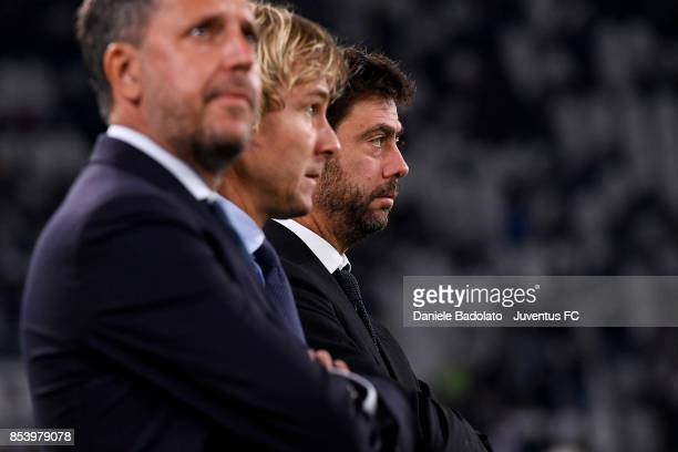Fabio Paratici Pavel nedved and Andrea Agnelli during the Serie A match between Juventus and Torino FC on September 23 2017 in Turin Italy