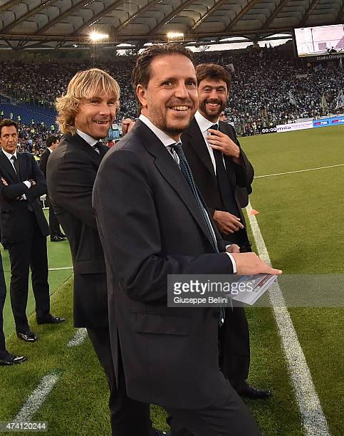 Fabio Paratici Pavel Nedved and Andrea Agnelli of Juventus before the TIM Cuo final match between SS Lazio and Juventus FC at Olimpico Stadium on May...