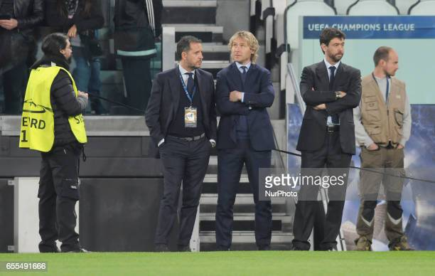 Fabio Paratici Pavel Nedved and Andrea Agnelli of Juventus leaders during the Uefa Champions League 20162017 match between FC Juventus and FC Porto...