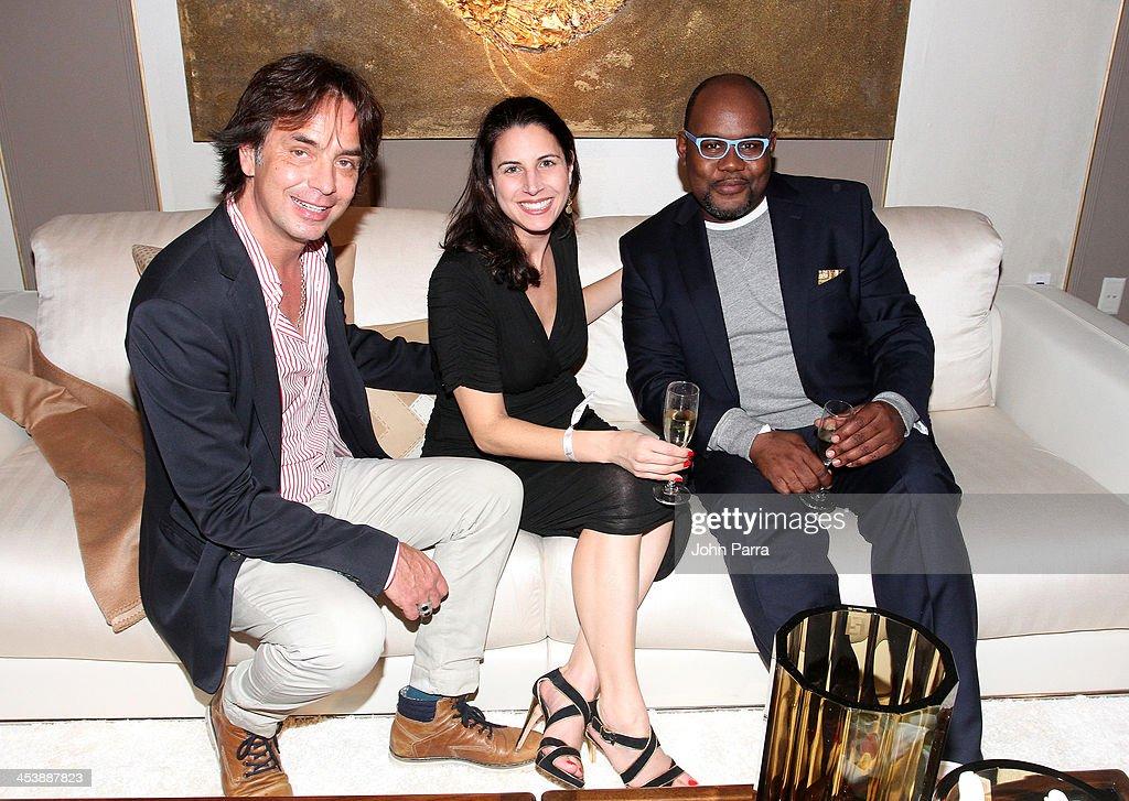 Fabio Pietrantonio, Mara McGinnis and Ludovic Leroy attend Fendi Casa Art Basel cocktail party on December 5, 2013 in Miami, Florida.