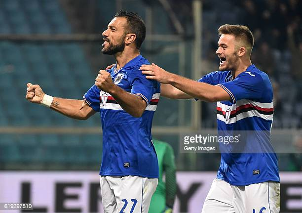 Fabio Quagliarella and Karol Linetty celebrates after scoring 10 during the Serie A match between UC Sampdoria and FC Internazionale at Stadio Luigi...