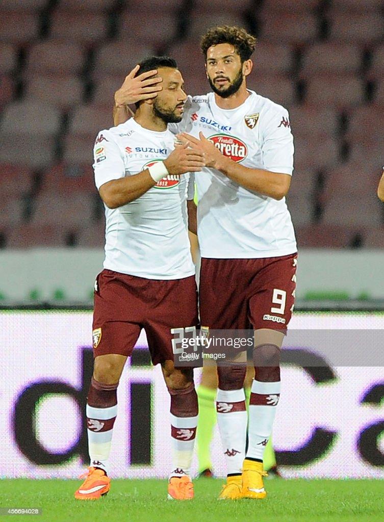 Fabio Quagliarella and Larrondo of Torinoi celebrate a goal 1-0 scored by Fabio Quagliarella during the Serie A match between SSC Napoli and Torino at San Paolo Stadium on October 5, 2014 in Naples, Italy.