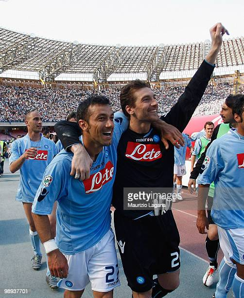 Fabio Quagliarella and Morgan De Santis of SSC Napoli celebrate after the Serie A match between SSC Napoli and Atalanta BC at Stadio San Paolo on May...