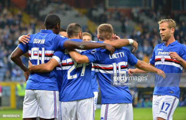 Fabio Quagliarella celebrate after 20 during the Serie A match between UC Sampdoria and FC Crotone at Stadio Luigi Ferraris on October 21 2017 in...