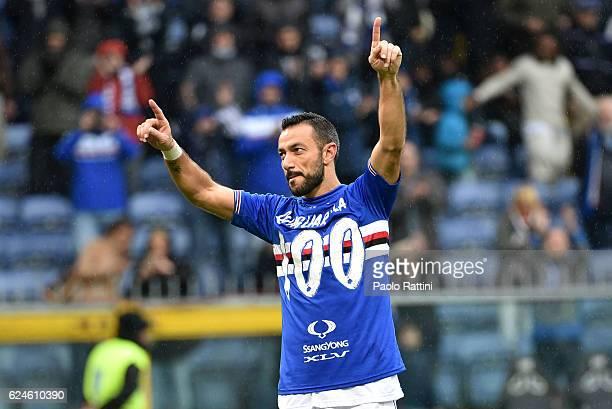 Fabio Quagliarella celebrates at the end of the Serie A match between UC Sampdoria and US Sassuolo at Stadio Luigi Ferraris on November 20 2016 in...