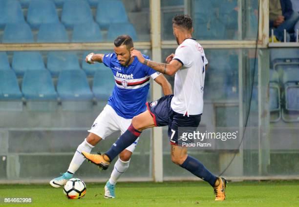 Fabio Quagliarella in action during the Serie A match between UC Sampdoria and FC Crotone at Stadio Luigi Ferraris on October 21 2017 in Genoa Italy
