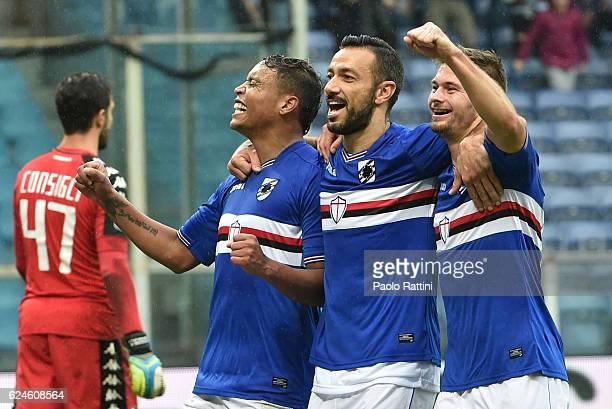 Fabio Quagliarella Luis Muriel Karol Linetty celebrates afetr goal 32 during the Serie A match between UC Sampdoria and US Sassuolo at Stadio Luigi...