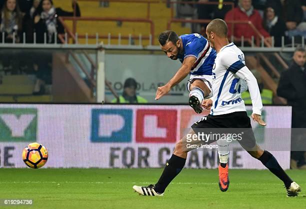 Fabio Quagliarella occasion score during the Serie A match between UC Sampdoria and FC Internazionale at Stadio Luigi Ferraris on October 30 2016 in...