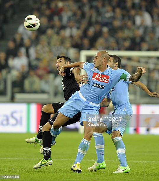 Fabio Quagliarella of FC Juventus and Paolo Cannavaro of SSC Napoli compete for the ball during the Serie A match between FC Juventus and SSC Napoli...
