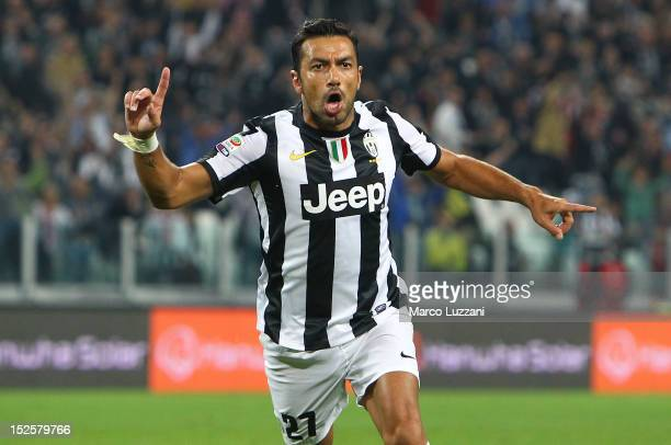 Fabio Quagliarella of FC Juventus celebrates after scoring the opening goal during the Serie A match between FC Juventus v AC Chievo Verona at...