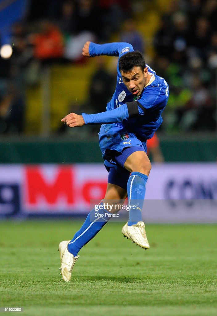 <a gi-track='captionPersonalityLinkClicked' href=/galleries/search?phrase=Fabio+Quagliarella&family=editorial&specificpeople=864022 ng-click='$event.stopPropagation()'>Fabio Quagliarella</a> of Italy in action during the FIFA2010 World Cup Group 8 Qualifier match between Italy and Cyprus at the Tardini Stadium on October 14, 2009 in Parma, Italy.
