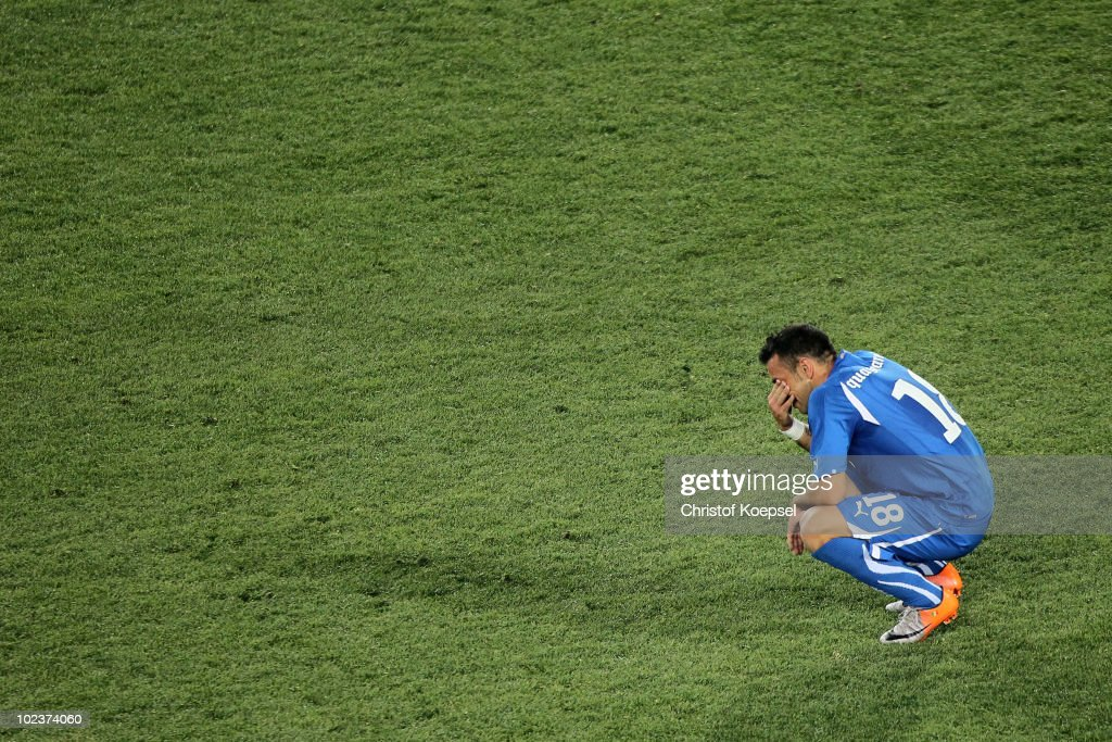 <a gi-track='captionPersonalityLinkClicked' href=/galleries/search?phrase=Fabio+Quagliarella&family=editorial&specificpeople=864022 ng-click='$event.stopPropagation()'>Fabio Quagliarella</a> of Italy is dejected after being knocked out of the competition by Slovakia during the 2010 FIFA World Cup South Africa Group F match between Slovakia and Italy at Ellis Park Stadium on June 24, 2010 in Johannesburg, South Africa.