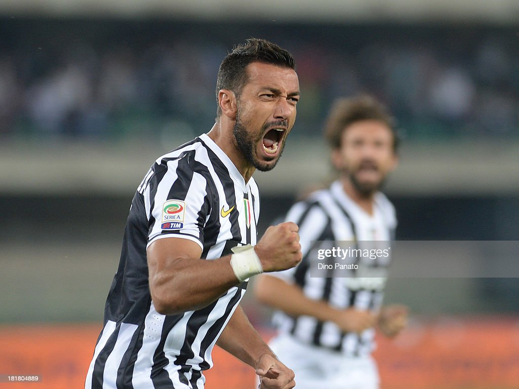 <a gi-track='captionPersonalityLinkClicked' href=/galleries/search?phrase=Fabio+Quagliarella&family=editorial&specificpeople=864022 ng-click='$event.stopPropagation()'>Fabio Quagliarella</a> of Juventus celebrates after scoring his first goal during the Serie A match between AC Chievo Verona and Juventus at Stadio Marc'Antonio Bentegodi on September 25, 2013 in Verona, Italy.
