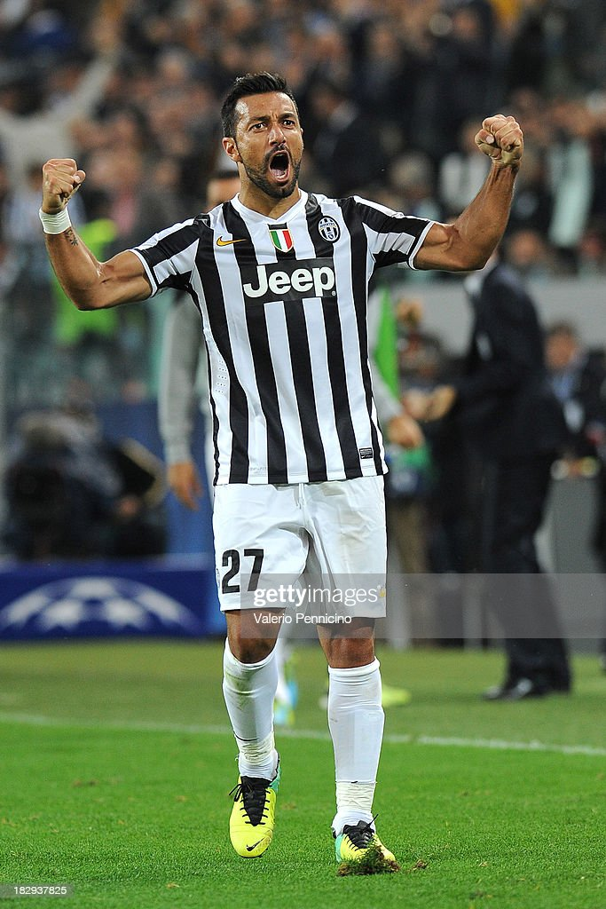 Fabio Quagliarella of Juventus celebrates after scoring his team's second goal during UEFA Champions League Group B match between Juventus and Galatasaray AS at Juventus Arena on October 2, 2013 in Turin, Italy.