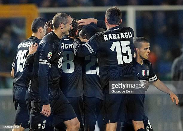 Fabio Quagliarella of Juventus celebrates after scoring the goal 16 during the Serie A match between Pescara and Juventus FC at Adriatico Stadium on...