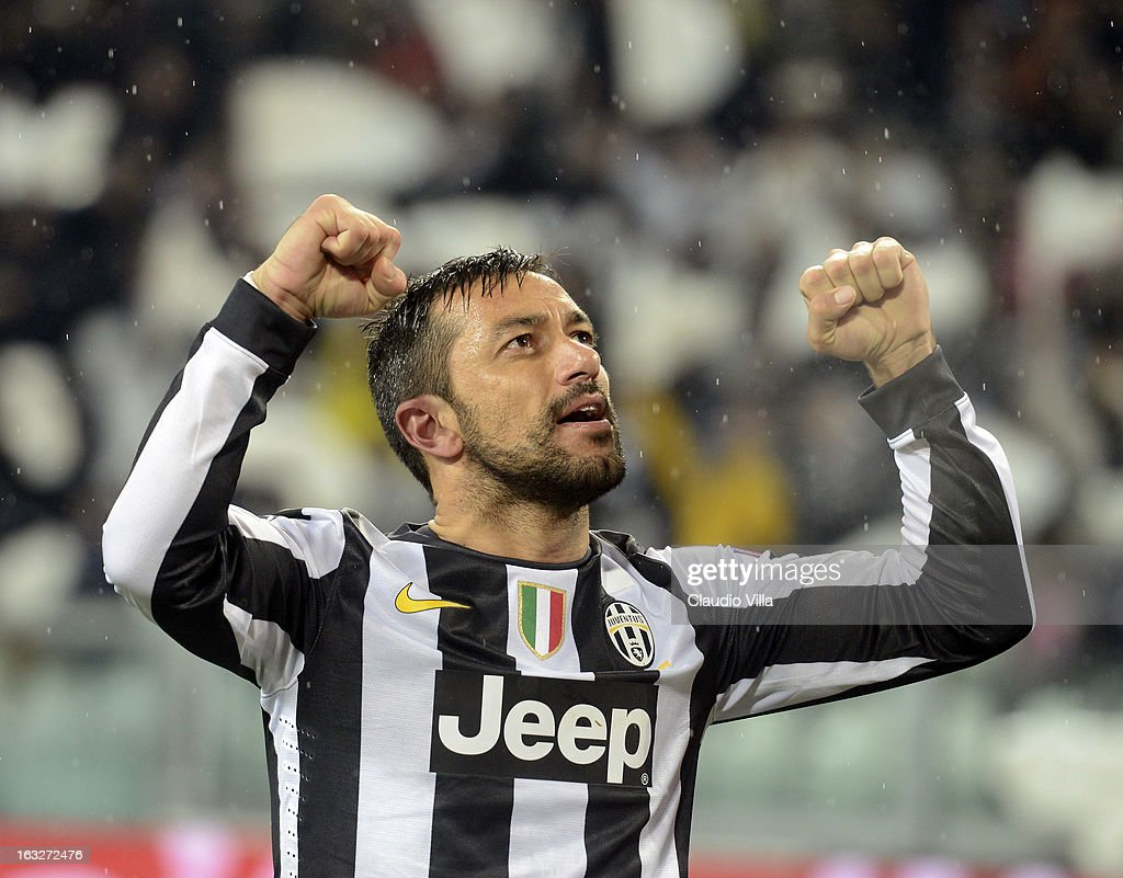 Fabio Quagliarella of Juventus celebrates scoring the second goal during the Champions League round of 16 second leg match between Juventus and Celtic at Juventus Arena on March 6, 2013 in Turin, Italy.