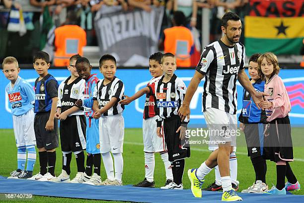 Fabio Quagliarella of Juventus celebrates win the Serie A Championships at the end of the Serie A match between Juventus and Cagliari Calcio at...