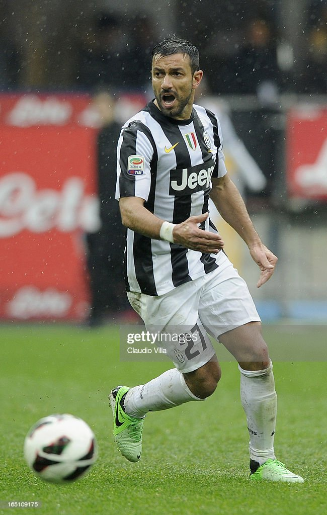 Fabio Quagliarella of Juventus FC in action during the Serie A match between FC Internazionale Milano and Juventus FC at San Siro Stadium on March 30, 2013 in Milan, Italy.