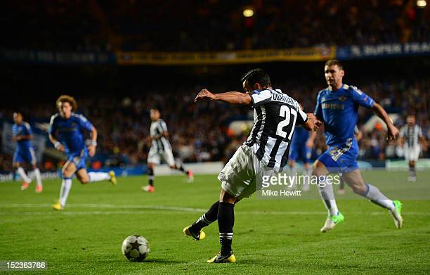 Fabio Quagliarella of Juventus scores their second goal during the UEFA Champions League Group E match between Chelsea and Juventus at Stamford...
