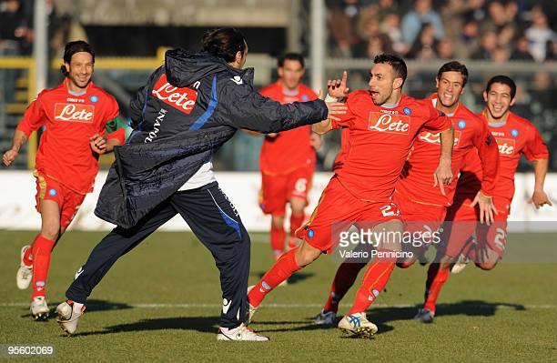 Fabio Quagliarella of SSC Napoli celebrates his goal during the Serie A match between Atalanta BC and SSC Napoli at Stadio Atleti Azzurri d'Italia on...