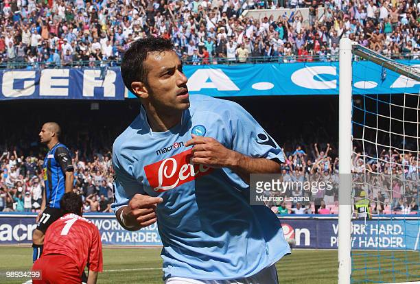Fabio Quagliarella of SSC Napoli celebrates scoring his goal during the Serie A match between SSC Napoli and Atalanta BC at Stadio San Paolo on May 9...