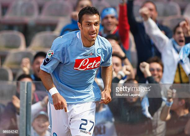 Fabio Quagliarella of SSC Napoli celebrates scoring the opening goal during the Serie A match between SSC Napoli and Atalanta BC at Stadio San Paolo...