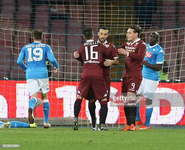Fabio Quagliarella of Torino celebrates after scoring his team's equalizing goal during the Serie A match between SSC Napoli and Torino FC at Stadio...