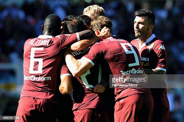 Fabio Quagliarella of Torino FC celebrates his first goal with his team players during the Serie A match between Torino FC and UC Sampdoria at Stadio...