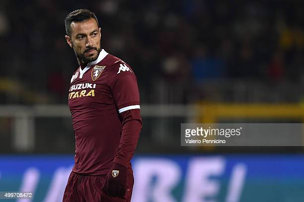 Fabio Quagliarella of Torino FC looks on during the Serie A match between Torino FC and Bologna FC at Stadio Olimpico di Torino on November 28 2015...