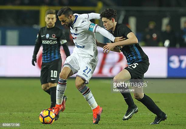 Fabio Quagliarella of UC Sampdoria competes for the ball with Alessandro Bastoni of Atalanta BC during the Serie A match between Atalanta BC and UC...