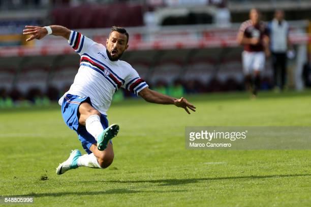 Fabio Quagliarella of UC Sampdoria in action during the Serie A football match between Torino Fc and Uc Sampdoria