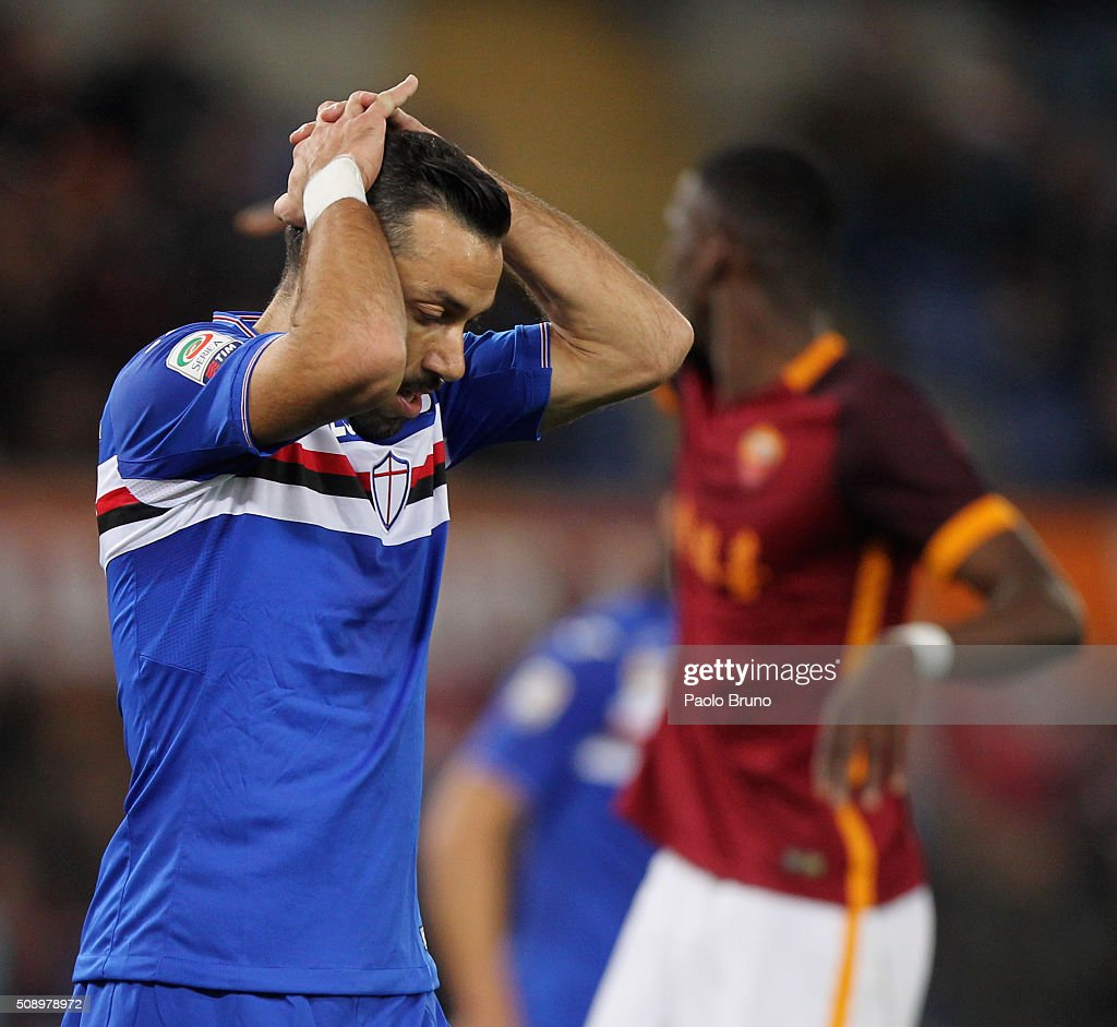 <a gi-track='captionPersonalityLinkClicked' href=/galleries/search?phrase=Fabio+Quagliarella&family=editorial&specificpeople=864022 ng-click='$event.stopPropagation()'>Fabio Quagliarella</a> of UC Sampdoria reacts during the Serie A match between AS Roma and UC Sampdoria at Stadio Olimpico on February 7, 2016 in Rome, Italy.