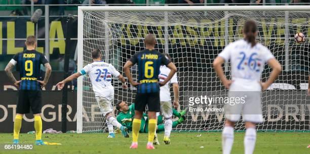 Fabio Quagliarella of UC Sampdoria scores his goal from the penalty spot during the Serie A match between FC Internazionale and UC Sampdoria at...